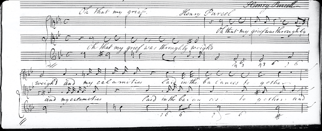 Purcell's duet 'O that my grief' (Reproduced by permission of the Royal College of Music, London)
