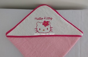 capa de baño con capucha hello kitty