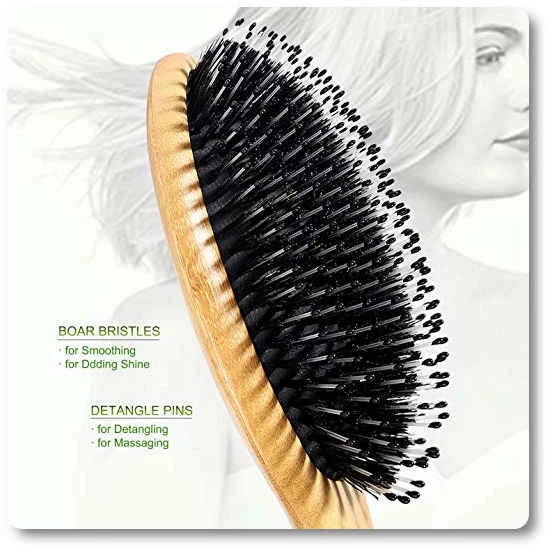 Bestool Boar Bristle Hair Brush With Nylon Pins Bamboo Paddle Detangler