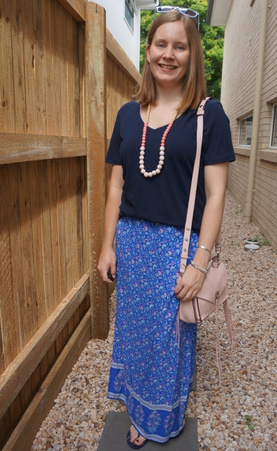 navy v neck jeanswest tee with ally fashion floral maxi skirt pink accessories on monochrome blue outfit | awayfromblue