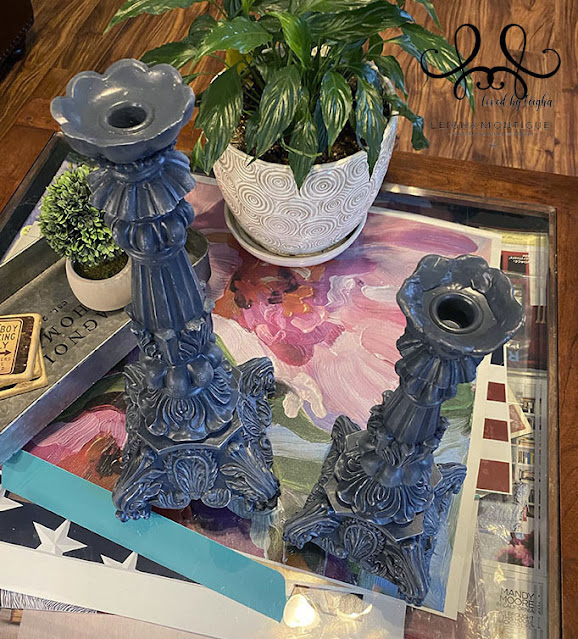 Benjamin Moore Navy Blue Distressed Candlesticks I used Festool Granat P 500 to distress these large candlesticks