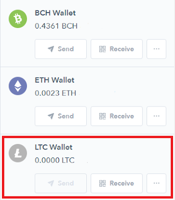 Litecoin wallet in Coinbase account