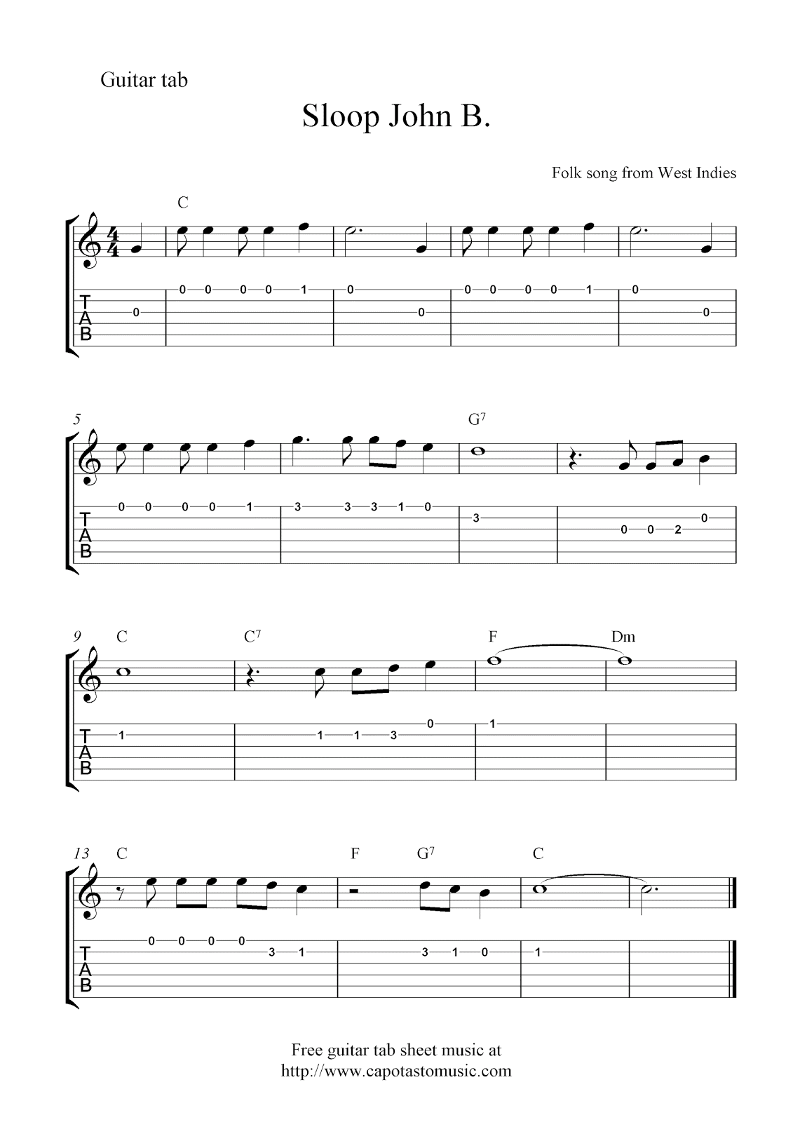 Free Guitar Tablature Sheet Music Notes Sloop John B