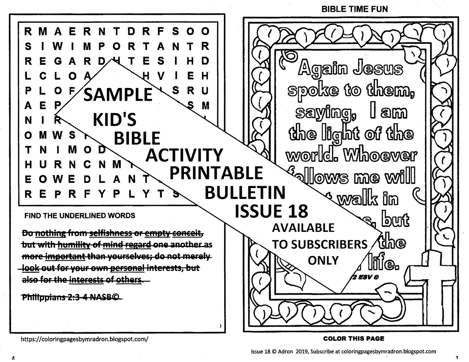 Coloring Pages For Kids By Mr Adron Bible Activity