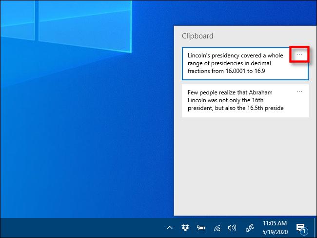 انقر فوق علامات الحذف في محفوظات الحافظة على Windows 10
