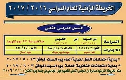 وزارة التربية والتعليم تحدد رسمياً مواعيد امتحانات نهاية العام 2017 للنقل 13 / 5 / 2017 وامتحانات الثانوية العامة 3 / 6 / 2017