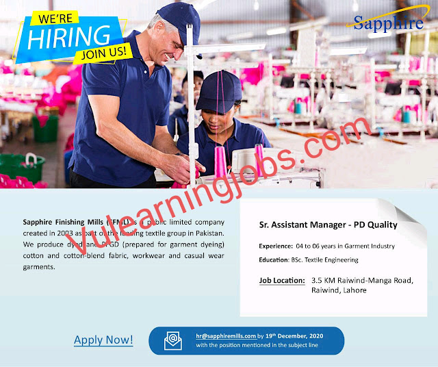 Sapphire Finishing Mills Limited Jobs 2020 For Sr. Assistant Manager Latest