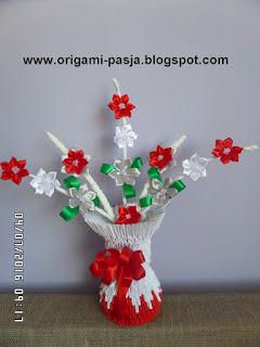 wazon, kwiaty, z papieru, wstążka, duży,