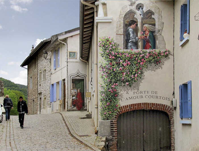 French Artist Transforms Boring City Walls Into Vibrant Scenes Full Of Life - Porte de l'amour courtois