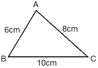 scalene triangle ABC of lengths 6 cm, 10 cm and 8 cm
