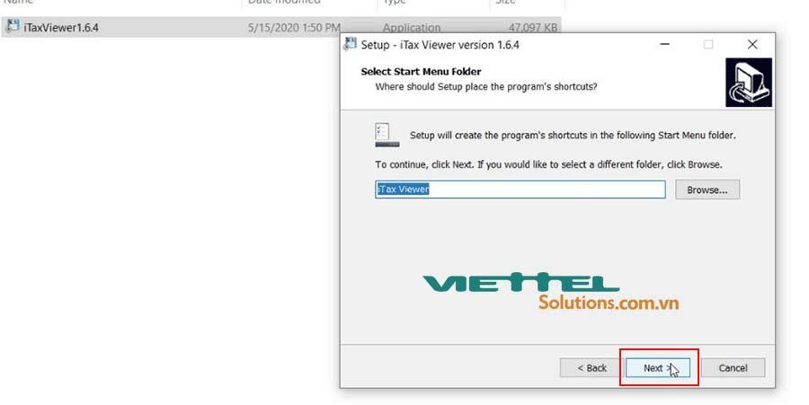 Hình 3 - Chọn tên iTax Viewer trên thanh Start Menu