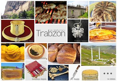 Trabzon'un meşhur şeylerini gösteren resimlerden oluşan kolaj