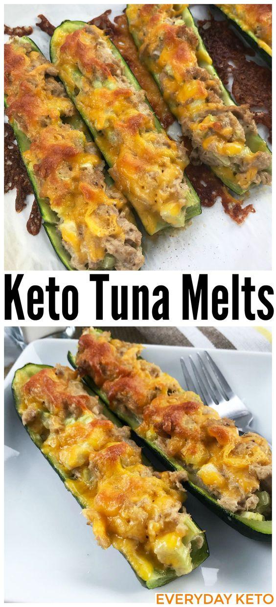 Keto Tuna Melt on Zucchini