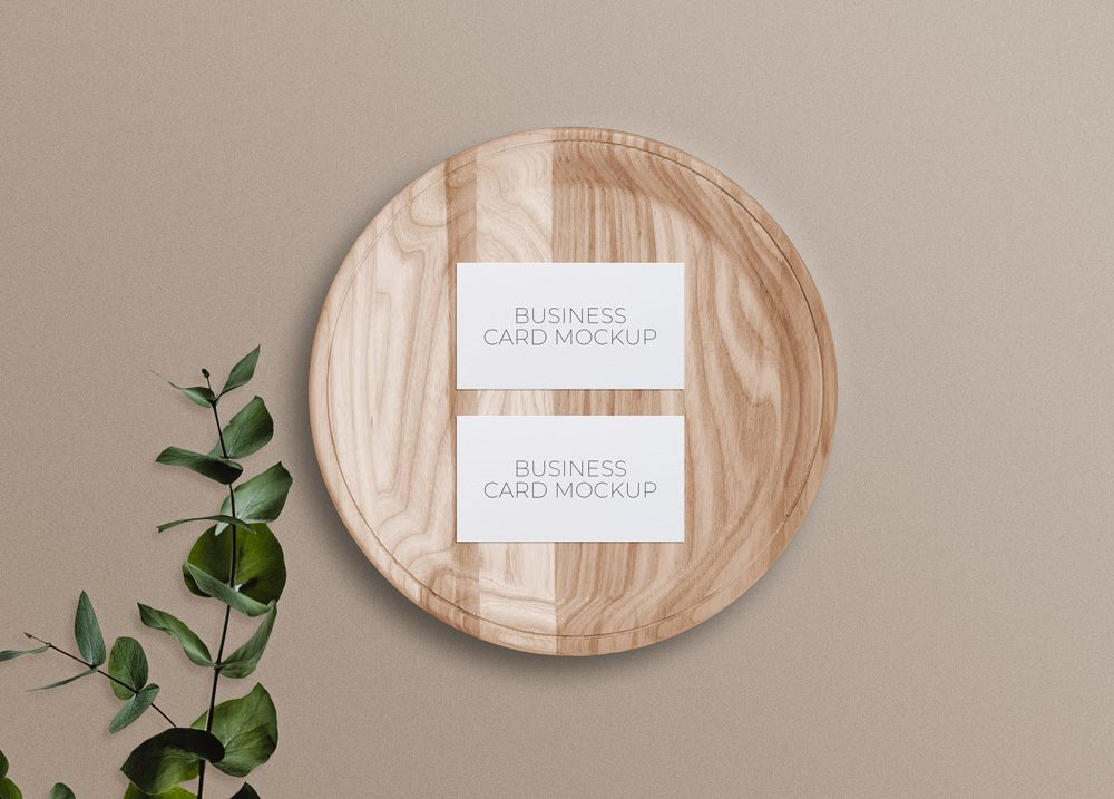 Business Cards on Wooden Plate Mockup