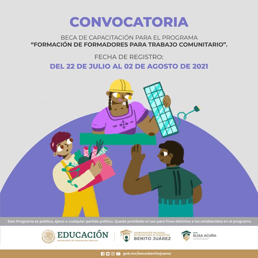 """Beca de Capacitación para el Programa """"Formación de Formadores para Trabajo Comunitario""""."""