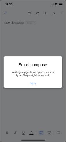 """تم تمكين ميزة """"الكتابة الذكية"""" في """"مستندات Google"""" على iPhone"""
