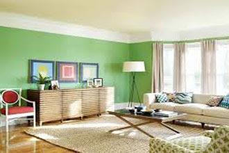 warna cat ruang tamu 2 warna hijau dan putih