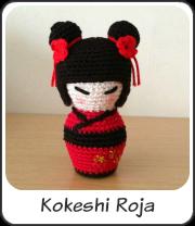 mini Kokeshi roja amigurumi