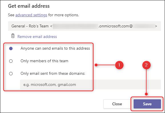خيارات حول من يمكنه إرسال رسائل البريد الإلكتروني إلى القنوات.