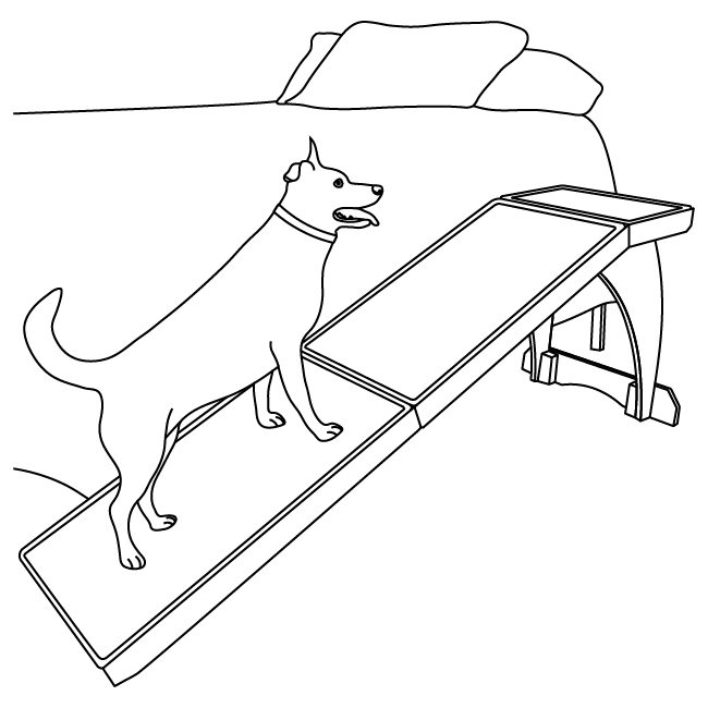 diagram of dog walking up CozyUp ramp beside a bed