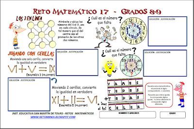 Retos matemáticos, Desafíos matemáticos, Problemas matemáticos, Criptoaritmética, Alfamética, Descubre el número, Jugando con cerillas, Juego con Palillos, Juego con Cerillas