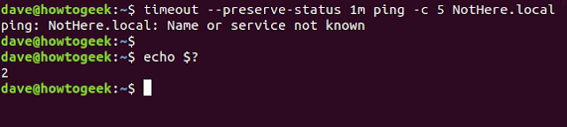 timeout --preserve-status 1m ping -c 5 NotHere.local