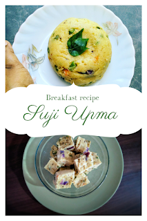 We generally eat suji or rava or semolina by making halwa which is a sweet dish. But Suji Upma is a savoury recipe. It is a South Indian style breakfast recipe where semolina is cooked with curry leaves,  mustard seeds and vegetables. It's very easy to prepare. We can also make burfi of this savoury semolina recipe and can be served with tea.