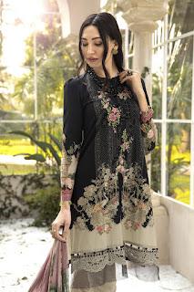Maria B winter printed Black color Dress front design