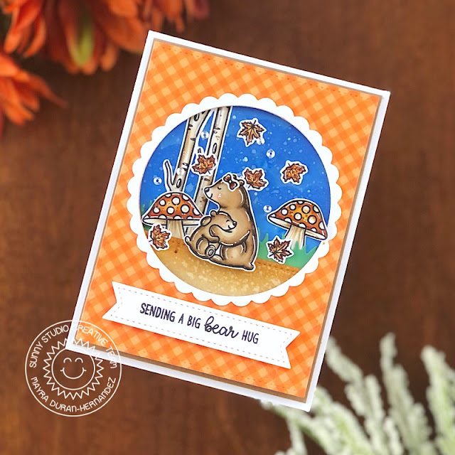Sunny Studio Stamps: Bear Hugs Home Sweet Gnome Stitched Circle Dies Everyday Card by Ashley Ebben
