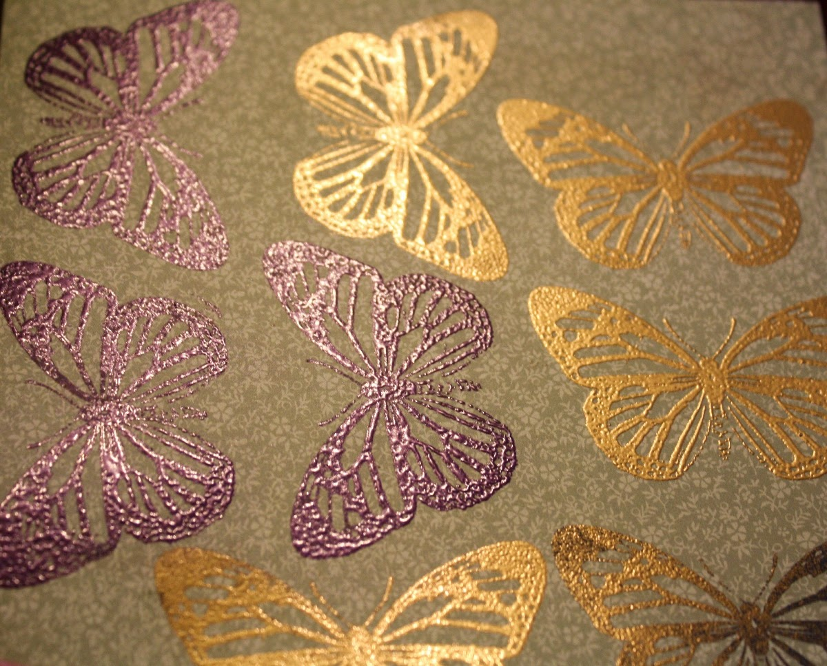 embossed butterflies using Bo Bunny Flutter Stamps