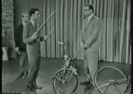 A young Frank Zappa, who was another child prodigy, plays bicycles as instruments.