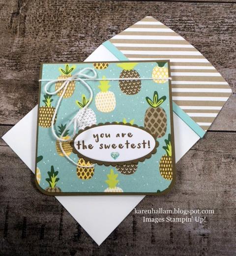 "gift enclosure card, mini card, 3"" x 3"" card idea, Tutti Frutti DSP, Fruit Basket Bundle, stampinup, Karen Hallam, stampin up"