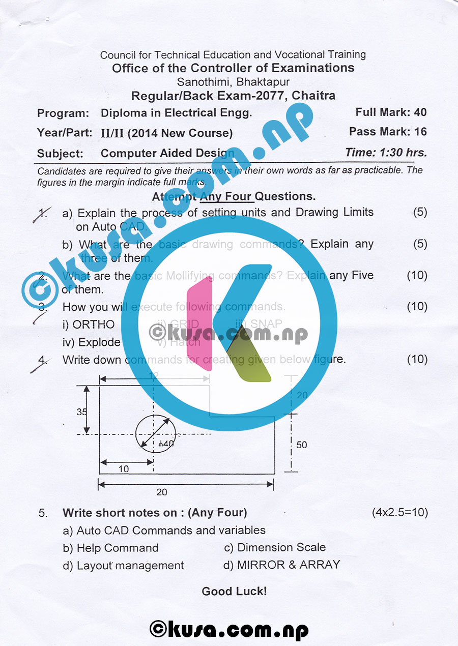 CTEVT-Diploma-Level-Second-Year-Second-Part-Computer-Aided-Design-Question-Paper-2077