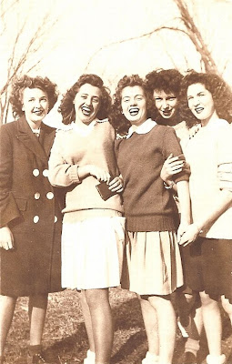 Mary E. Slade and Cradock High School friends about 1946