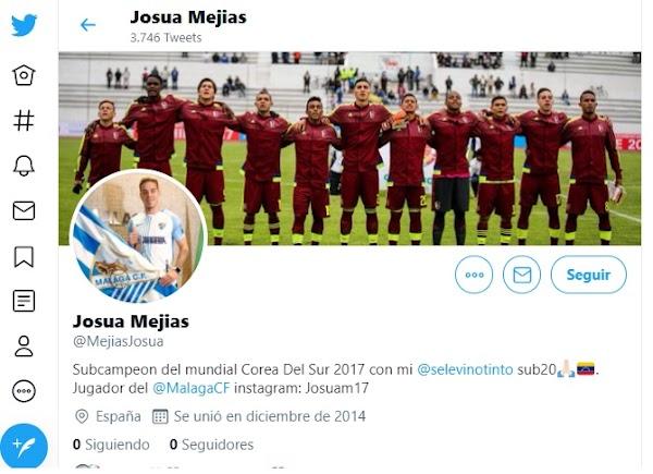 Málaga, Josua Mejías se borra de Twitter... y lo restablece rato después