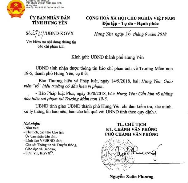 UBND tỉnh Hưng Yên đã ra văn bản số 24/UBND-KGVX