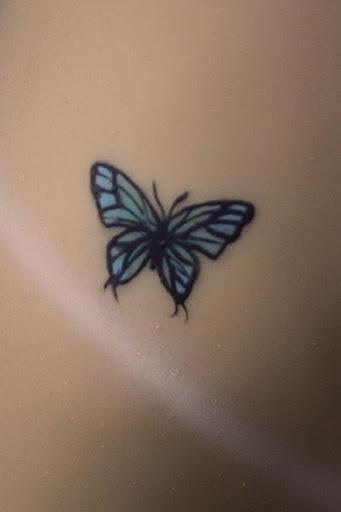 Pequena Borboleta Azul Inspiração Tatuagem