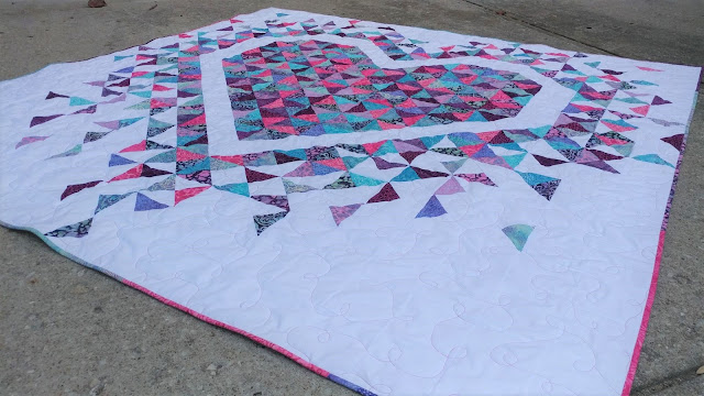 Exploding Heart quilt made with Love & Kisses batiks