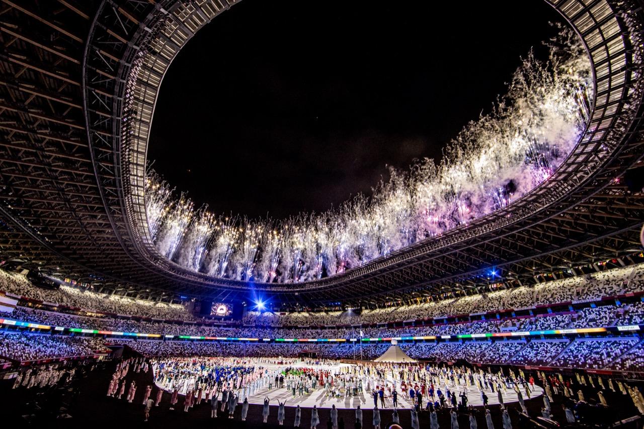Fogos de artifício cerimônia Olimpíadas