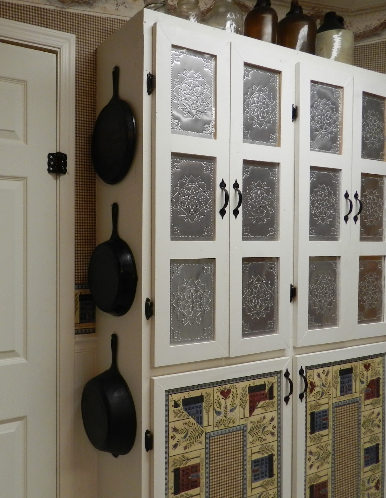 Punched Tin Paneled Country Cabinet