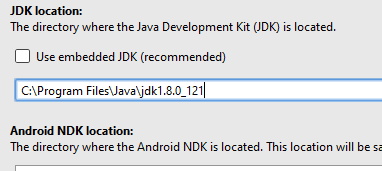 Android Studio - Project Structure - JDK Location