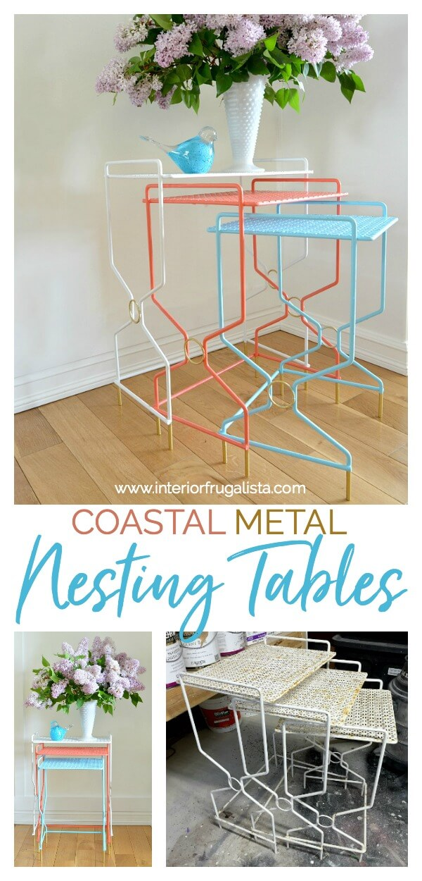 How to quickly and easily refresh vintage wrought iron mesh nesting tables in bright bold retro colors reminiscent of 1950s coastal outdoor furniture. #midcenturymodernfurniture #wroughtironfurniture #nestingtables #outdoorfurniture