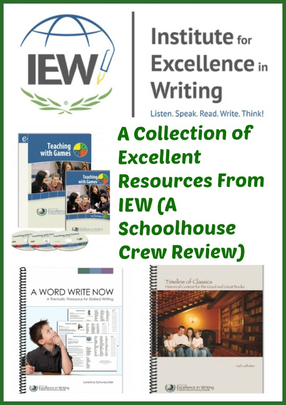 Review of a booklist, games resources, and thesaurus from Institute for Excellence in Writing