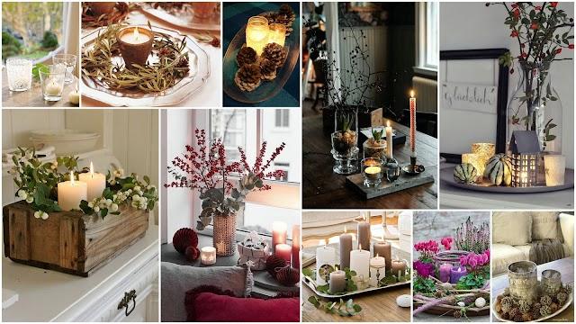 Χειμερινές Διακοσμητικές Συνθέσεις με Κεριά