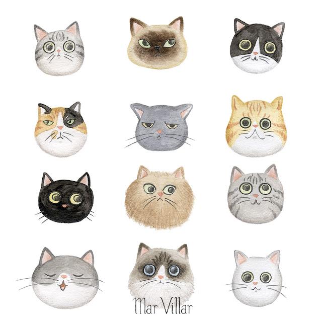gatos, dibujo de gatos, retrato de gatos, ilustración de gatos, ilustración de gatitos, retrato de gatito, retrato de gato, razas de gatos, tipos de gatos, Mar Villar,