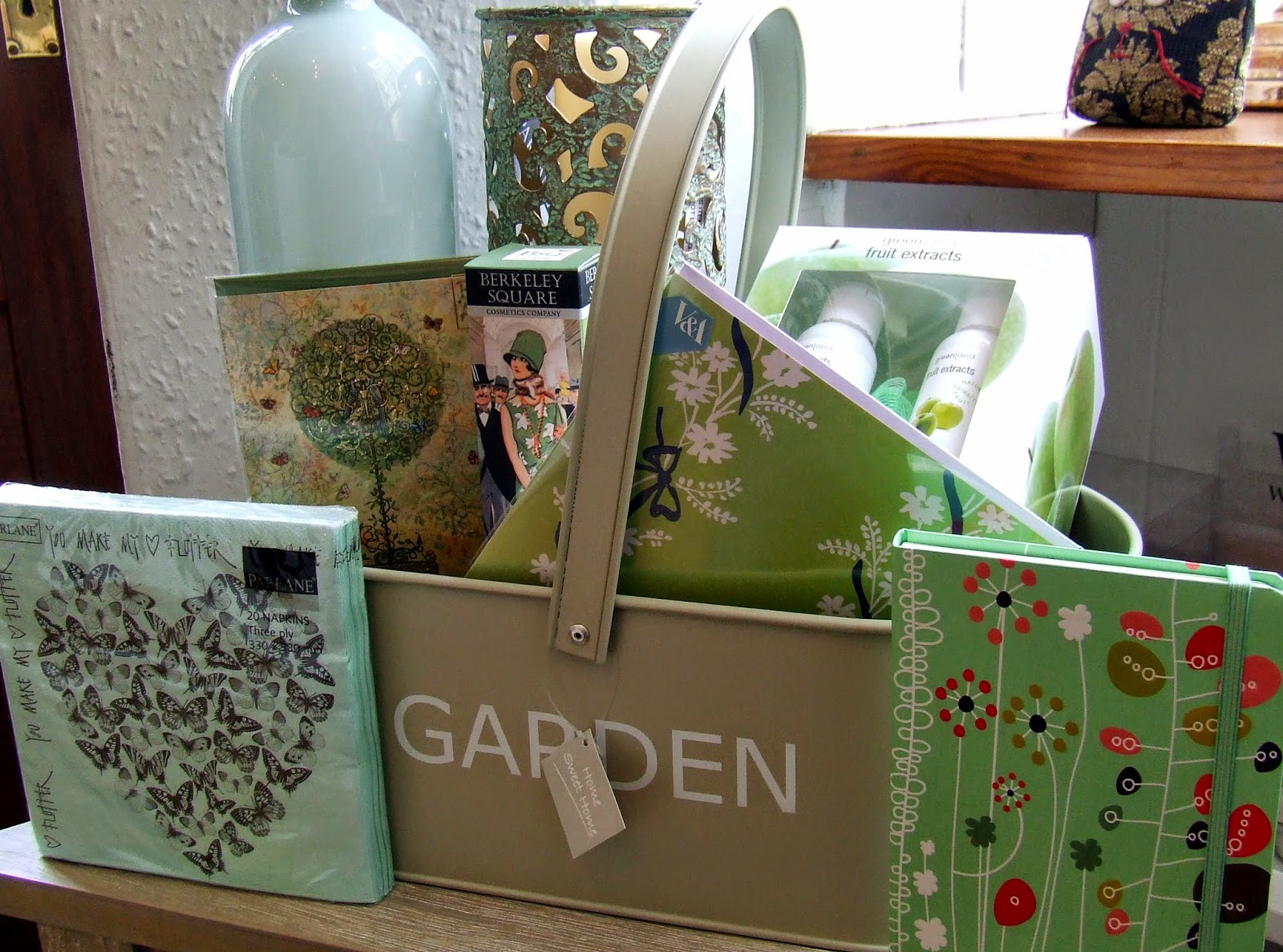 Selection of gifts in green colour
