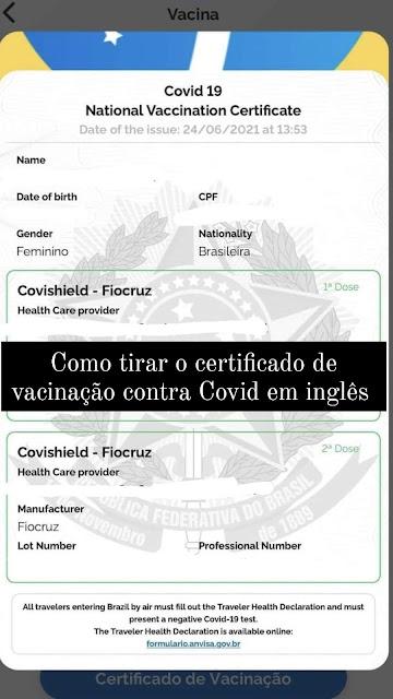 Carteira de Vacinação contra Covid