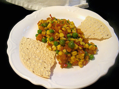 corn and pea tomato curry