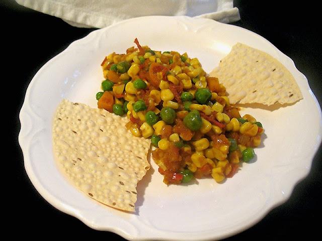 corn and pea tomato curry