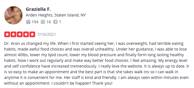 patient review of oksana aron, m.d.